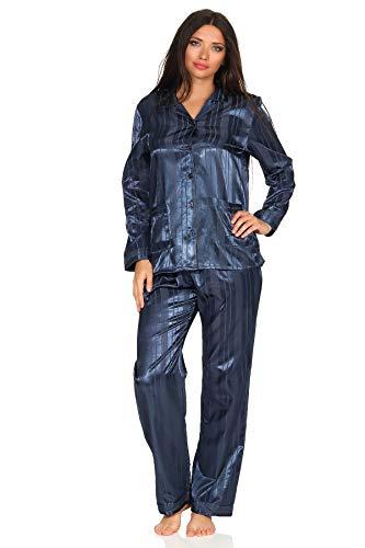 Normann Copenhagen Satin Pyjama Streifendessin - innen angeraut 251 201 94 010, Größe2:44/46, Farbe:Marine