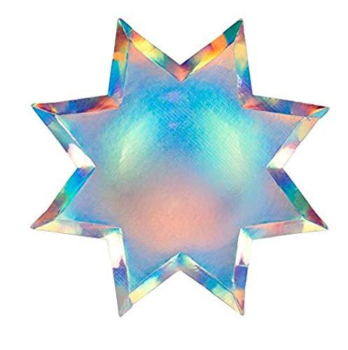 Meri Meri Pappteller Silber 8-Stern Teller Pappe 255mm x 255mm Sterne 8 Stück Weihnachten Plätzchen Gebäck Party Feier Kindergeburtstag