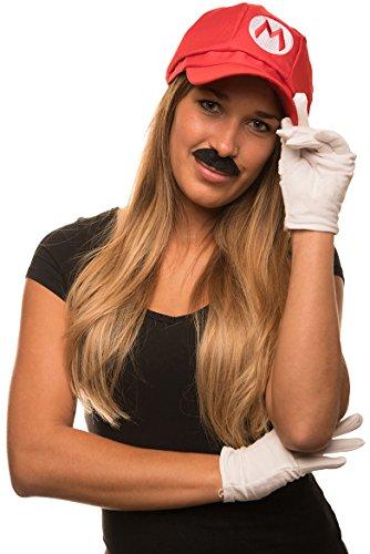 Super Mario Mütze rot im Komplettset mit weißen Handschuhen und Klebe-Bärten für Erwachsene und Kinder Karneval Fasching Verkleidung Kostüm Mützen Hut Cap Herren Damen Kappe
