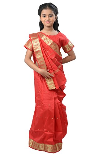 Pratima Girl's Party Wear Coral Red with Jari border silk Ready made...