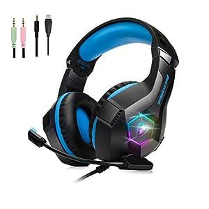 Sporzin Gaming Headset für PS4 Xbox One PC Laptop Mac Farbige Lichter Pro Kopfhörer mit Rauschunterdrückung LED 3.5mm Klinkenadapter Geringes Gewicht