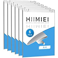 HIIMIEI 6 Pack Acrylic Wall Mount Sign Holder A4, Clear Ad Frames for Papers,Bonus with 3M Tape and Mounting Screws