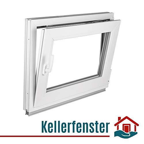 Fenster Kellerfenster Kunststofffenster Breite: 95 cm - BxH: 95x75 cm DIN Rechts - 2 fach Verglasung Alle Größen Dreh Kipp Weiß - Premium
