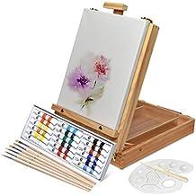 Artina Florenz set de pintura de 28 piezas caballete maletín de mesa para profis y aficionados 18 colores acrílicos, lienzo, 6 pinceles y paleta