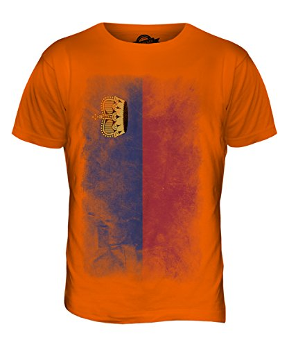CandyMix Liechtenstein Verblichen Flagge Herren T Shirt Orange