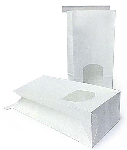 12 Bio Blockbeutel / Teetüten aus weißem Kraftpapier mit Fenster und Verschluss (Format: Maße 11,5 x 24 cm, der Boden misst: 7,0 x 11,5 cm)