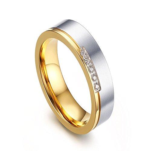 QingShe Womens Titanium Steel Ring Gold Cubic Zircon Gem Wedding Band Jewelry Size L1/2