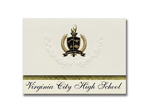 Signature Ankündigungen Virginia City High School (Virginia City, Nevada) Graduation Ankündigungen, Presidential Stil, Elite Paket 25Stück mit Gold & Schwarz Metallic Folie Dichtung