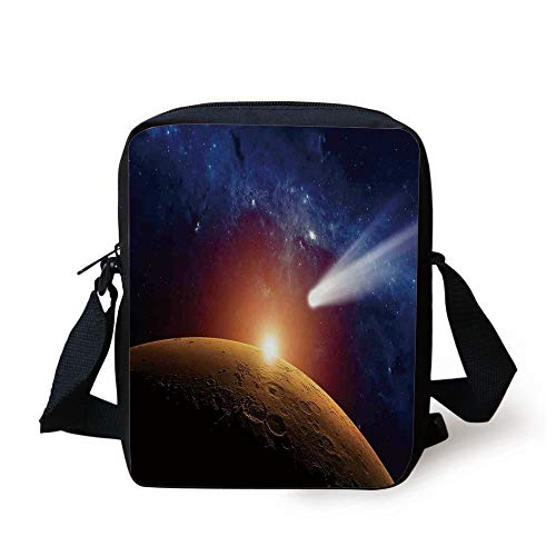 Outer Space Decor,Comet Tail Approaching Planet Mars Fantastic Star Cosmos Dark Solar System Scenery,Bue Orange Print Kids Crossbody Messenger Bag Purse - Coach Clutch Purse