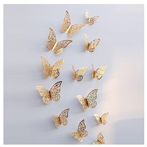 Kangrunmy 12pcs Stickers Murale Papillon Autocollant Mural 3D Chambre Enfant DéCorations Grand Muraux Tete De Lit Bebe Fille Garcon Salon car CréAtif ImperméAble Amovible IntéRieur ExtéRieur DéCor (C)