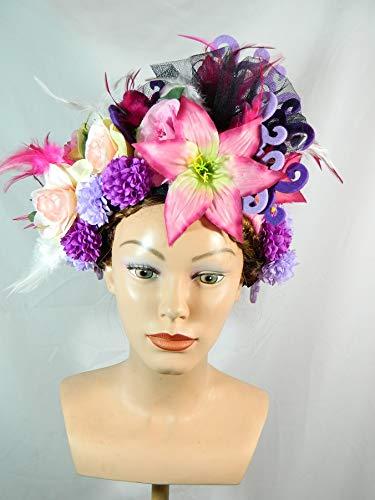Blumenkrone bunt rosa Headpiece Kopfschmuck Federschmuck Samba Tribal Tanz