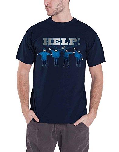 The Beatles T Shirt Help Movie Band Logo offiziell Herren Blau -