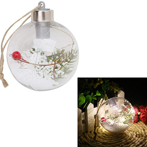 ECMQS Weihnachtsbaum Plastik Durchsichtig, Hängen LED Clear Ball Licht Lampe Party Draussen Ornamente Dekor (D)