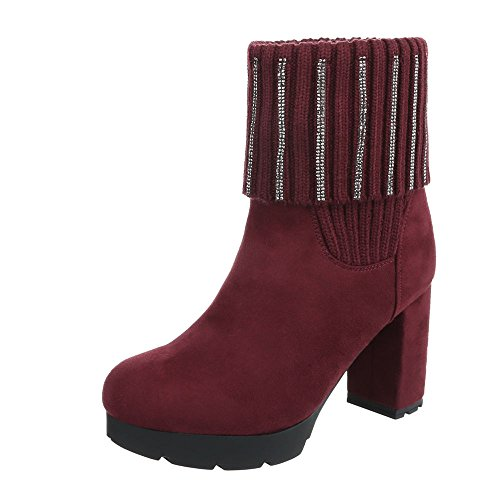Ital-Design High Heel Stiefeletten Damen-Schuhe High Heel Stiefeletten Pump High Heels Stiefeletten Weinrot, Gr 38, 0-182-