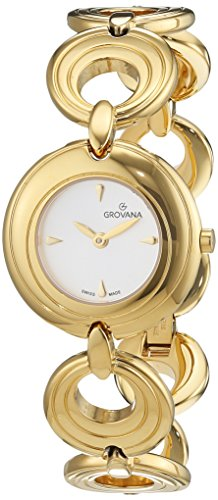 GROVANA 4567.1112 Women's Quartz Swiss Watch with White Dial Analogue Display and Gold Plated Stainless Steel Bracelet