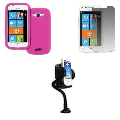 EMPIRE AT&T Samsung Focus 2 I667 Silicone Skin Case Étui Coque Cover Couverture (Hot Pink Rosa) + Réglable Voiture Dashboard Mont + Invisible Films de protection d'écran