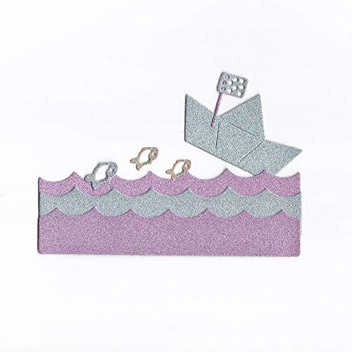 Scrapbooking Süß Prägeschablonen Schablonen Stanzmaschine Stanzen Stanzformen, Zubehör für Halloween Dekor Grußkarte (G Boot im Wasser) ()