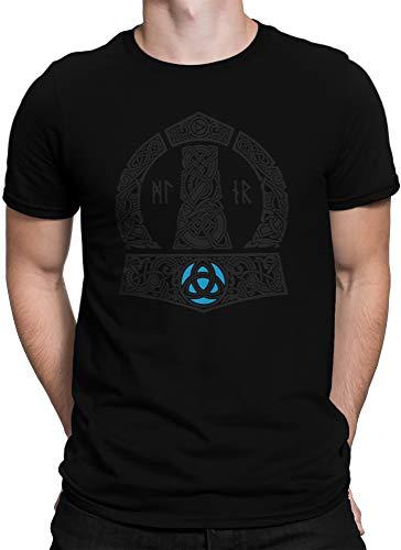 vanVerden North Herren T-Shirt Thors Hammer Mjölnir Wikinger Gott Thor Vikings, Größe:5XL, Farbe:Schwarz/Schwarz