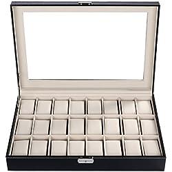 Homdox 24er Hochwertiger Uhrenkoffer Uhrenbox Uhrenkasten Uhrenvitrine Uhrentruhe Uhrenschatulle Schmuckkästchen PU-Leder mit Glasfenster und Schlüssel, Schwarz