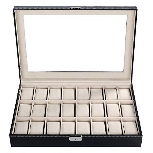 Scylla Uhrenbox Uhrenkoffer Uhrenkasten Kunstleder für 24 Uhren Aufbewahrungsbox mit Glasdeckel aus PU-Leder Schwarz