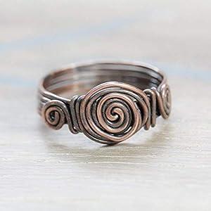 Rustikaler Kupfer-Ring mit Spiralen gebeizt und gehämmert/in jeder Größe/Handarbeit/für Männer und Frauen