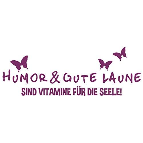 WANDKINGS Wandtattoo – Humor & gute Laune sind Vitamine für die Seele – Wähle aus 5 Größen & 35 Farben
