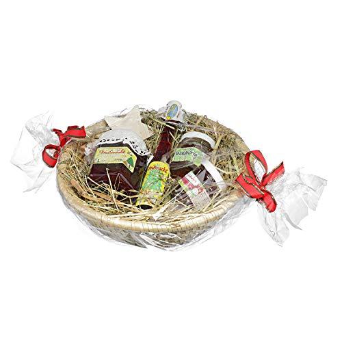 Weihnacht Geschenkkorb - Leckerer Präsentkorb zu Weihnachten - Geschenkidee aus Bastkorb mit Heu, 210g Weihnachtsfruchtaufstrich 40ml Weihnachtslikör 50g Glühweinfruchtaufstrich/Deutscher Waldhonig