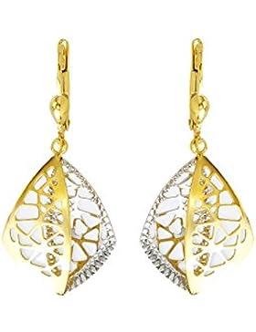 Echt Gold Damen Ohrringe Pendel in 585 Gold in Gelbgold & Weißgold 14Karat 3738