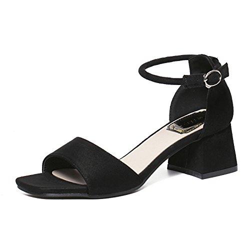 TMKOO 2017 été nouvelle épaisse avec daim carrés sandales à bout ouvert en noir avec des chaussures creuses rondes Noir