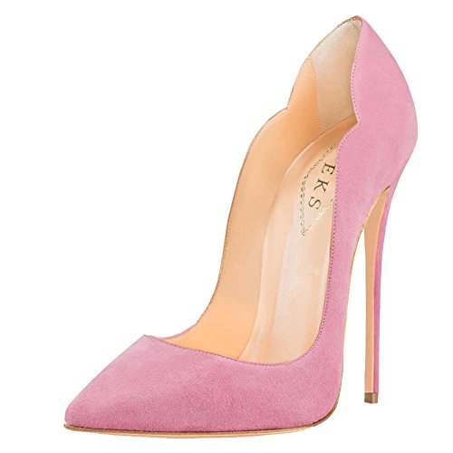 EKS Damen Gradient Spitze Lackleder Kleid-Partei Hochzeit Pumps Size 35-46 Pink-Faux Wildleder