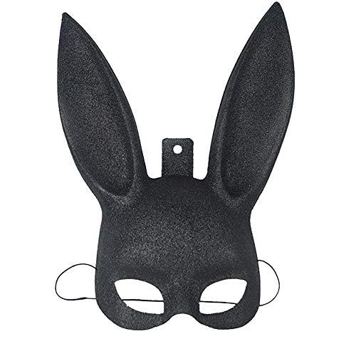 Wilk 1PC Glittering Masquerade Coniglio di Coniglietto Maschera di Protezione di Halloween Costume Party Prom Maschera per Le Donne Gli Uomini di Cosplay (Nero)
