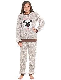 Slumber Hut® Girls Pug Dog Llama Fleece Pyjamas - Luxury Childrens Animal  Novelty Loungewear Twosie 8499d9ea0