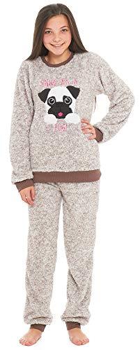 Slumber Hut® Mädchen Kinder Mops Hund Lama Luxus Vlies Pyjamas - Tier Neuheit Loungewear Twosie der Schlafanzug PJs - Braun Mops Hund 11-12 Jahre