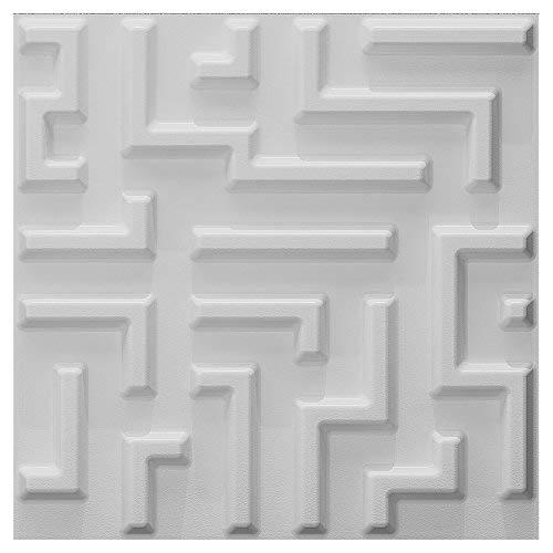 Art3d Zum Überstreichen 3D Textur Wand Paneele Labyrinth Design, Weiß, 12Stück Fliesen 32SQ FT (Pflanzenfaser)