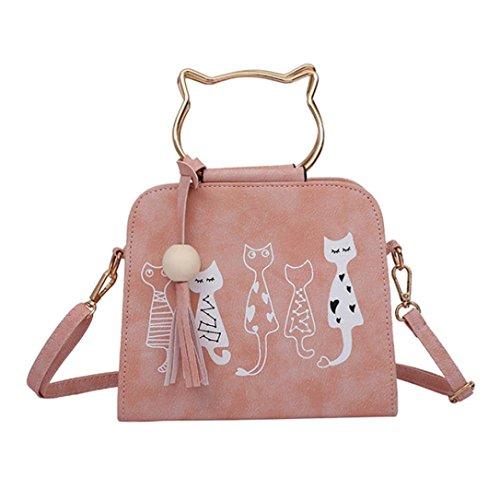 Borse donna , feixiang 2017 animale messaggero borsa donna gatto coniglio modello spalla crossbody borsa (rosa)