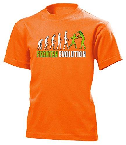 Fechten Evolution 552 Kinder T-Shirt (K-Ora-Weiss-Grün) Gr.140
