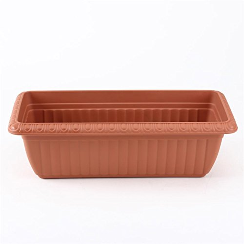 DELLT- En plastique épais Grands légumes Relief Rectangle Stripes Potted Pots Balcon ( couleur : Tao Brown )