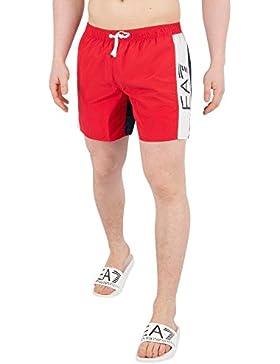 EA7 Hombre Pantalones cortos de baño Sea World, Rojo