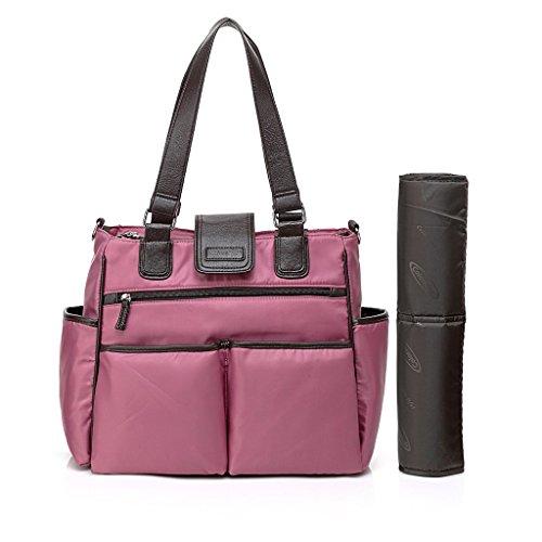 Fumee Handlich Kinder Nappy Wickeltaschen Abwischbar Tote Umhängetasche Mama Handtaschen mit Wickelauflage (Schwarz/Grau) Pink