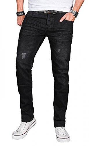 A. Salvarini Herren Designer Jeans Hose Stretch Basic Jeanshose Regular Slim [AS050 - W30 L30], Deep Black Used -