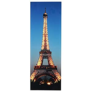 Mendler LED-Bild, Leinwandbild Leuchtbild Wandbild, Timer ~ 100x35cm Eifelturm, flackernd