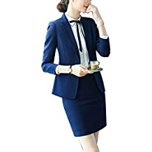 efd3127d920 Mujer Blazer Casual Manga Larga Chaqueta Y Pantalon Y Falda De Traje De  Oficina Entallada