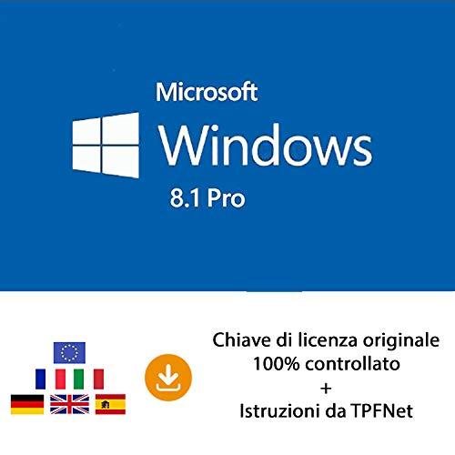 MS Windows 8.1 Pro 32 bit e 64 bit - Chiave di Licenza Originale per Posta e E-Mail + Guida di TPFNet - Spedizione max. 60min