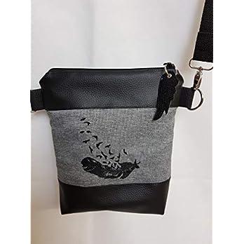 Kleine Handtasche Feder Umhängetasche Schultertasche Tasche mit Anhänger handmade Kunstleder