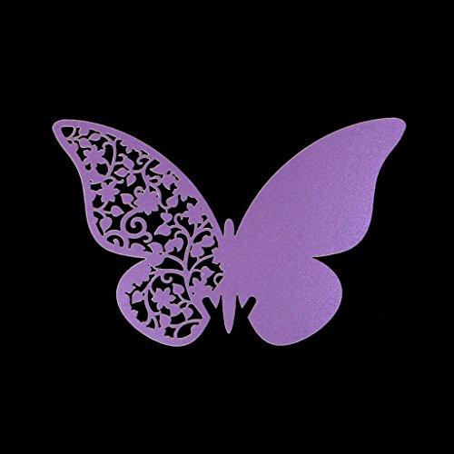 Manyo 50 Stück Glas Platzkarten Tischkarten, Schmetterlingsform, 4 Farben zur Auswahl, ideale Dekoration und Geschenk für Hochzeit, Geburtstage, Party, Festival. (Lila)
