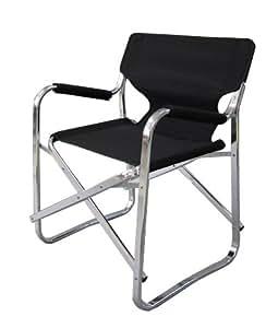 Chaise pliante portatif en Aluminium - Noir / fauteuil / mobilier de camping / jardin
