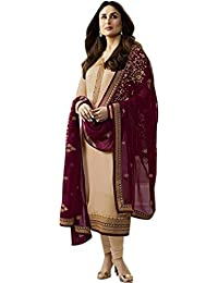 Generic Designer Maroon&Beige Color Embroidered Work Straight Salwar Suit(Salwra_ER10797_Beige_Free Size)