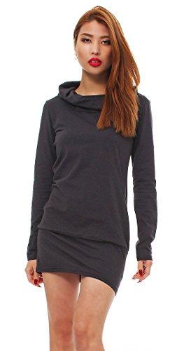 Mississhop Elegantes Kleid Longshirt Tunika mit Kragen Japan Style 34 36 38 40 42 Grau