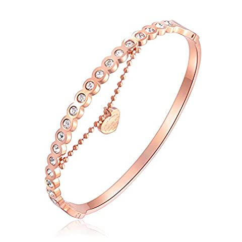 Fate Love Jewellery Womens Fashion Rose Gold Plated Bangle Bracelet with Love Pendant Chain Inlay Micro Zircon
