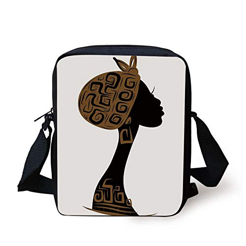 African Woman,Face Profile Silhouette Woman with Headscarf Tribal Art Folk Elements,Brown Black White Print Kids Crossbody Messenger Bag Purse - Coach Clutch Purse